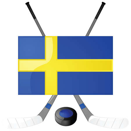 Illustration of hockey sticks, puck and a Swedish flag