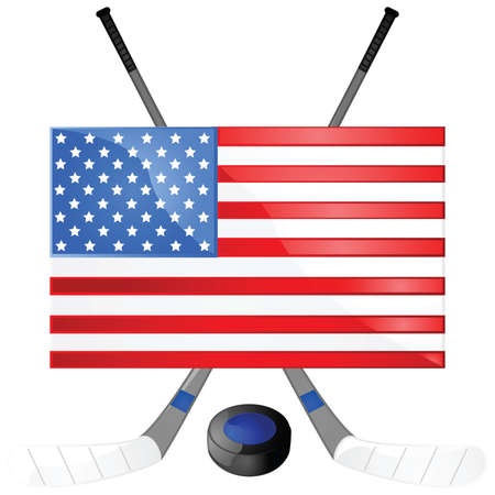puck: Illustration of hockey sticks, puck and a USA flag