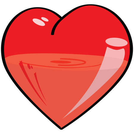 Cartoon illustration of a semi-transparent heart, half-filled with a liquid