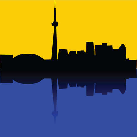 Illustration of the skyline of Toronto, Canada, reflected on a lake Vector