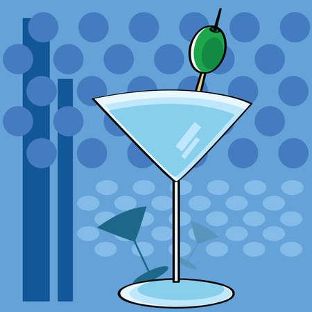 ファンキーな背景を持つカクテル マティーニ グラスを示す様式化された漫画図  イラスト・ベクター素材