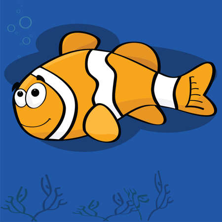 fishes: Cartoon illustration of a happy clown fish