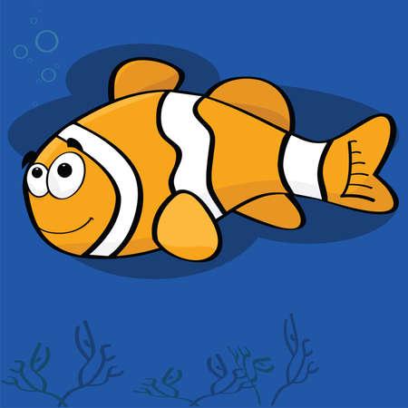 Ilustración de la caricatura de un pez payaso feliz  Ilustración de vector