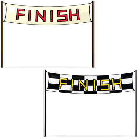 Cartoon illustration of two different styles of finish lines