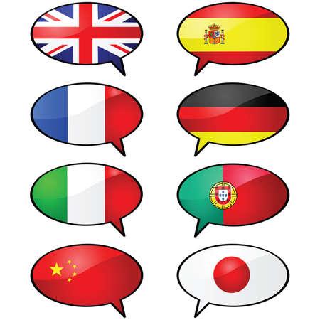 光沢のある図のいくつかの漫画の話風船、別の言語を表すさまざまなフラグ