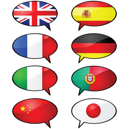 Glossy illustration of several cartoon talk balloons, with different flags representing different languages