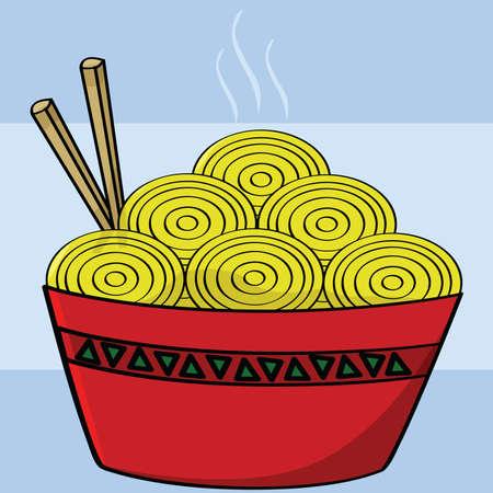 ramen: Cartoon illustration of a bowl of noodles with two chopsticks Illustration