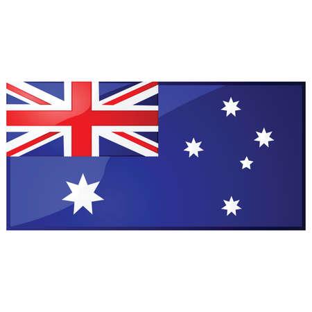 oceania: Glossy illustration of the Australian flag