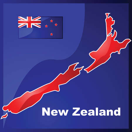 oceania: Glossy illustration with the map and flag of New Zealand