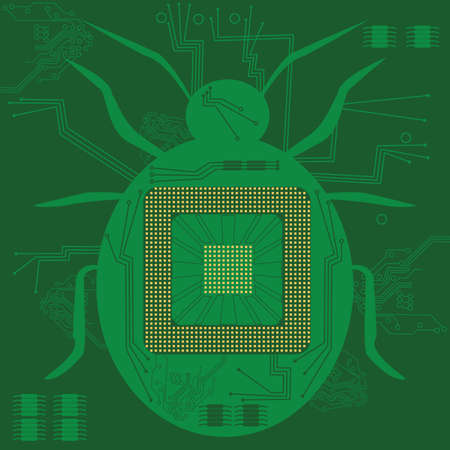 electronic board: Concept illustration of a bug shape in a computer circuit board Illustration