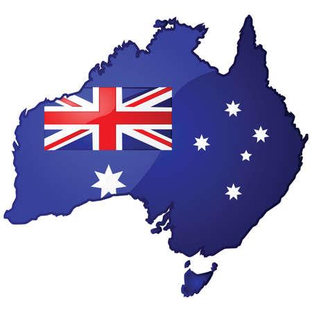 オーストラリアのフラグはその中でオーストラリアの地図の光沢のあるイラスト  イラスト・ベクター素材