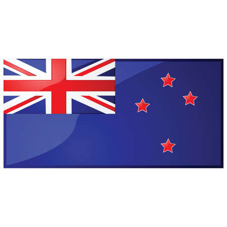 oceania: Glossy illustration of the flag of New Zealand