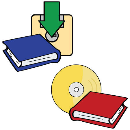 electronic book: Illustration showing two forms of e-books: download and CD