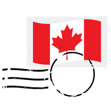 canada stamp: Illustration showing a postmarked stamp of Canada