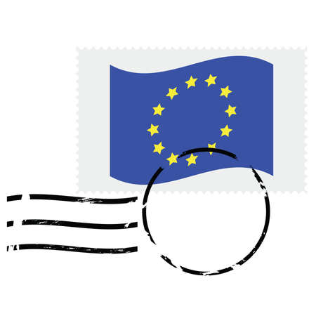 postmarked: Illustration showing a postmarked stamp of the European Union