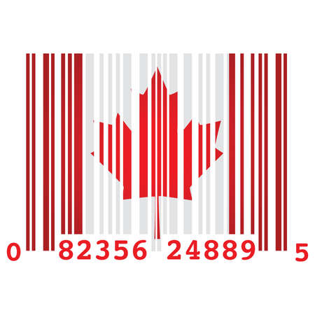 excess: Concept illustration of a barcode and the flag of Canada, symbolizing over consumption