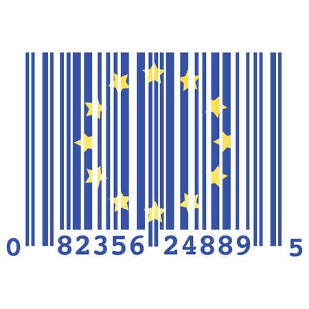 Concept illustratie van een barcode en de vlag van de Europese Unie, symboliseert over consumptie