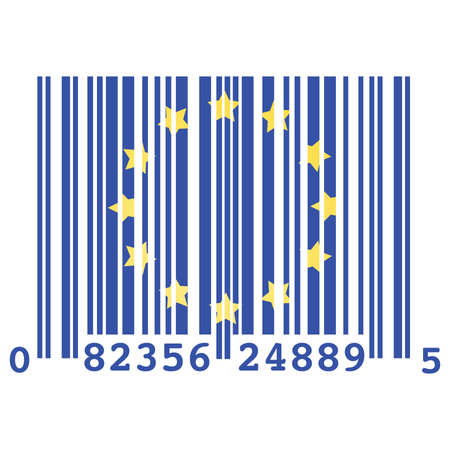 excess: Concept illustration of a barcode and the flag of the European Union, symbolizing over consumption