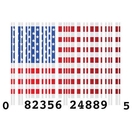 excess: usa, united, states, america, flag, symbol, Concept illustration of a barcode and the flag of the United States, symbolizing over consumption