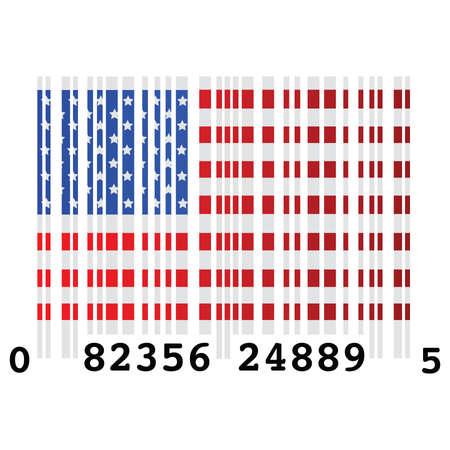 Verenigde Staten van Amerika, Verenigde, staten, Amerika, vlag, symbool, concept illustratie van een streepjes code en de vlag van de Verenigde Staten, symboliseert over consumptie