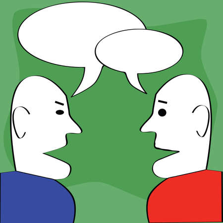 Cartoon illustration of two man talking, with cartoon dialogue balloons on top