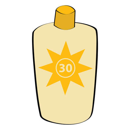 Cartoon illustration of a sunscreen lotion bottle Illustration