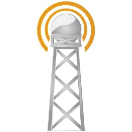 Illustratie van een toren van de communicatie een signaal uitzenden