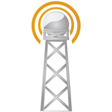Illustration of a communications tower broadcasting a signal