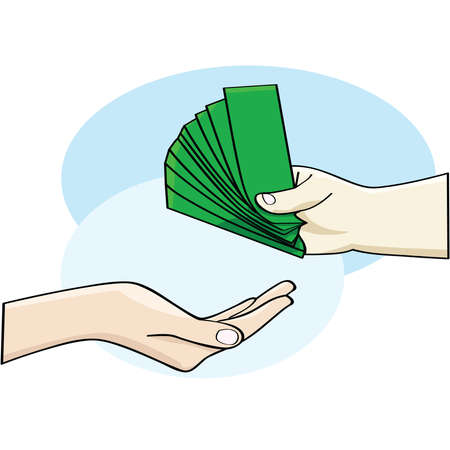 give: Cartoon illustration showing a hand giving money and an open hand accepting it