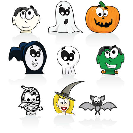 Cartoon illustration of a group of different Halloween characters 일러스트