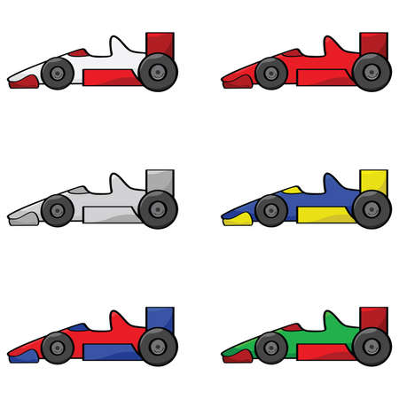 1: Cartoon illustration of a set of different colored racing cars