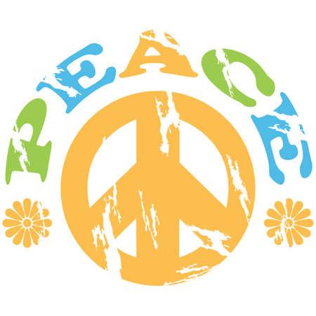 simbolo della pace: Concetto che illustra un segno di pace con la parola pace e fiori intorno ad esso Vettoriali