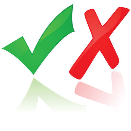 POSITIVE NEGATIVE: Glossy illustration showing a green check mark and a red X Illustration