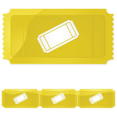 Glanzende illustratie van een golden ticket - één en in een rij van drie Stock Illustratie