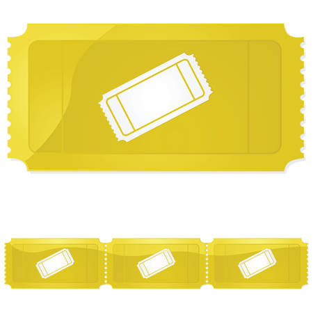 Glossy illustration of a golden ticket - single and in a row of three Ilustração
