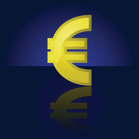 Glossy illustration of a golden Euro symbol, reflected on a dark background