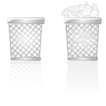 Glossy illustration of an empty and a full garbage can