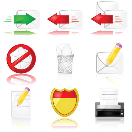 Set of different glossy icons related to mail and communication