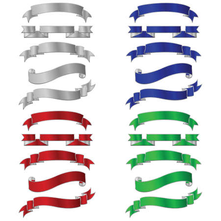 Set of five different colored metallic banners 向量圖像