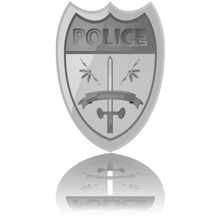 Glossy illustration of a police badge reflected on a white background