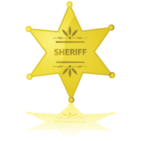 Glossy illustration of a golden sheriff star reflected on a white background Vector