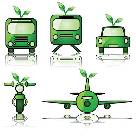 Glossy illustration set of different modes of transportation, with a young tree sprouting from them to signify green forms of travel Illustration