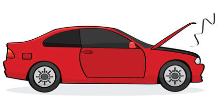 Cartoon illustration showing a broken car with its hood open and smoke coming out of the engine Vector