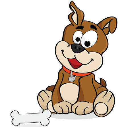 Cartoon illustration of a cute dog sitting down in front of a bone Иллюстрация