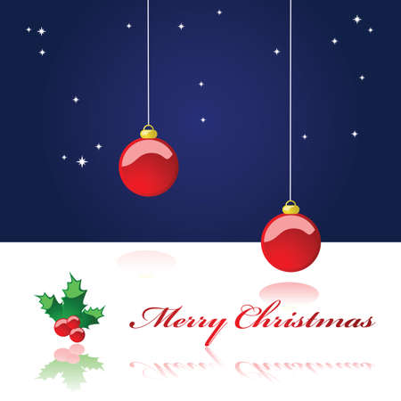 Illustration of a Christmas background showing a starry night sky with two Christmas decoration balls hanging from the top of the page and a glossy mistletoe with the words 'Merry Christmas' reflected over white Stock Vector - 7885534