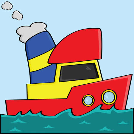 a yellow, red and blue cartoon boat