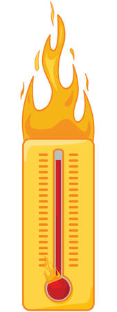 Cartoon illustration of a thermometer on fire to show it's too hot Illustration
