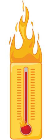 hot temperature: Ilustraci�n de la caricatura de un term�metro ardiendo para mostrar que est� demasiado caliente