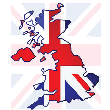 Illustration of the United Kingdom flag over a map of the UK Vettoriali