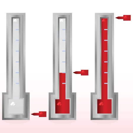 Glossy illustration showing a fundraising goal meter in three different stages